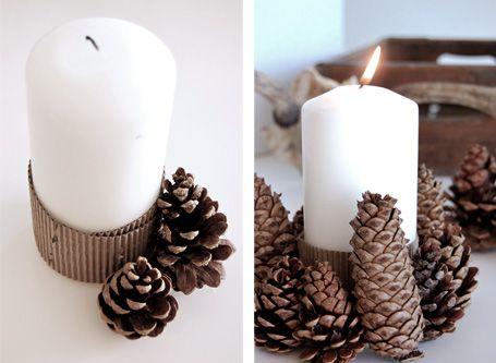 DIY Pine Cones Candle Holder   Shelterness