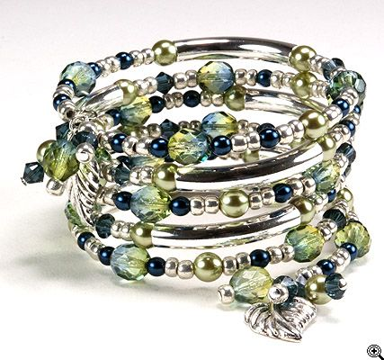 Jewelry Making Idea: Tranquil Wishes Memory Wire Bracelet (eebeads.com)