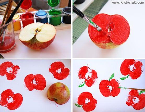 Comptine illustrée- Pomme de reinette et pomme d'api- Empreinte pomme- Automne