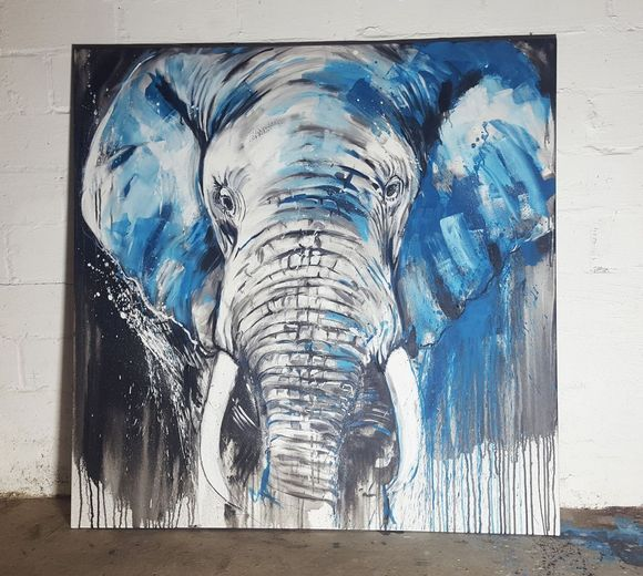 Elephant #5 - Close up - Large Painting by Stefanie Rogge #artforsale via artfinder.com #art #animalart #buyart #largecanvas #readytohang #elephant #safari #africa #wildlifeart