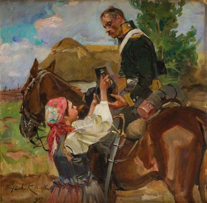Wojciech Kossak - Ułan i dziewczyna , 1907 r.