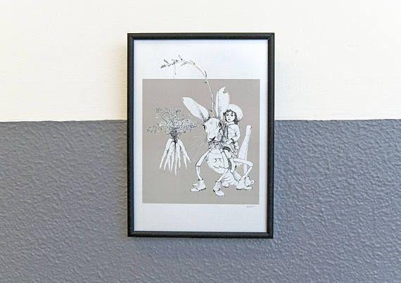 pentekening Harehopper print op fotopapier kunst voor aan de
