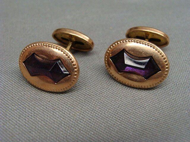 Victorian Gold Filled & Amethyst Cufflinks