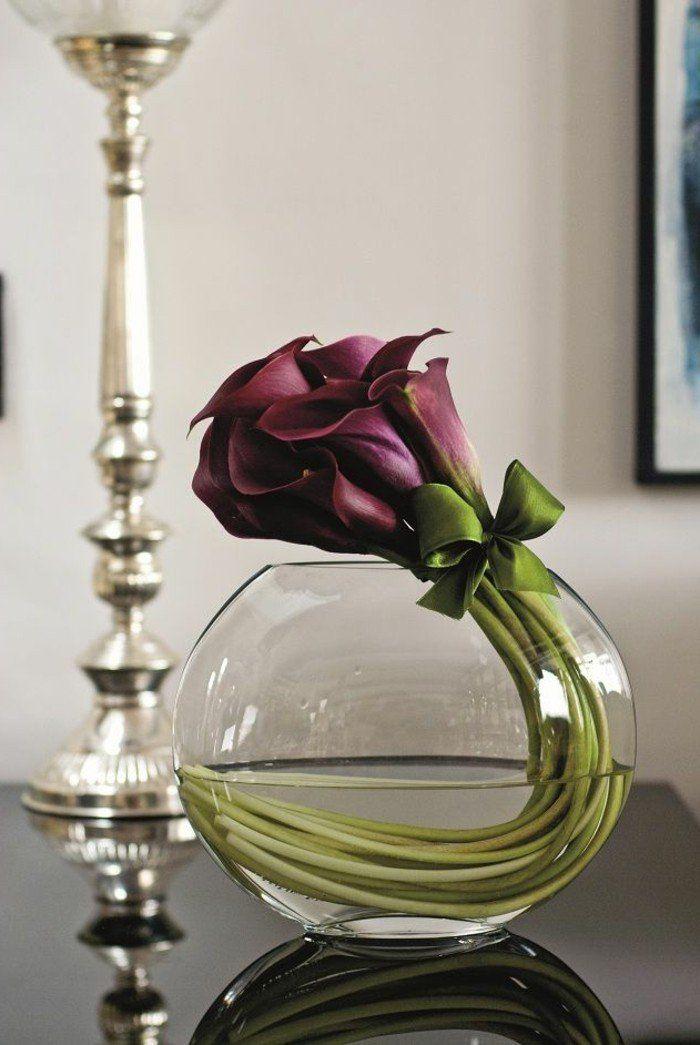 jolie decoration avec grand vase en verre, deco vase transparent, vase boule verre