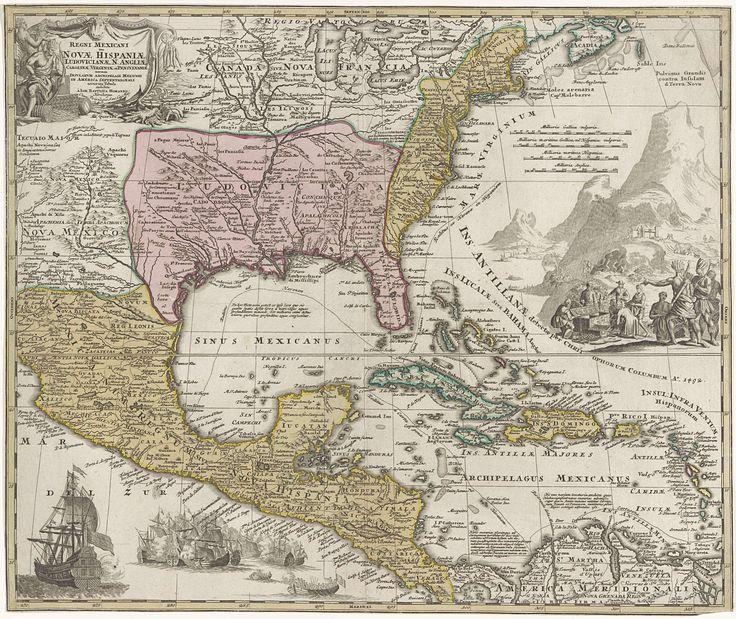 Paskaart van de Golf van Mexico en Noord Amerika, Anonymous, Johann Baptista Homann, unknown, 1710 - 1724