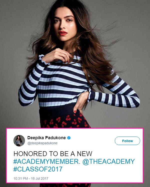 Deepika Padukone was invited to Oscar Academy's Class of 2017 and we finally have her reaction – check tweet #FansnStars