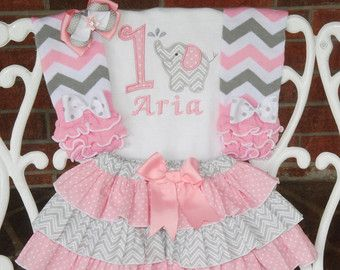 Elephant Birthday Outfit Baby Girl First Birthday Outfit