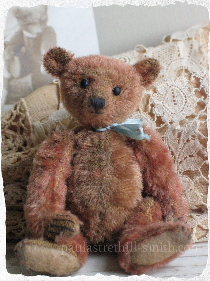 "Paula Strethill-Smith Miniature antique style artist teddy bear. Old Ezra is 3.5"" tall and created from antique mohair in faded cinnamon. Due to the age of his fur it is thinning in places but this gives him the appearance of a early antique bear."