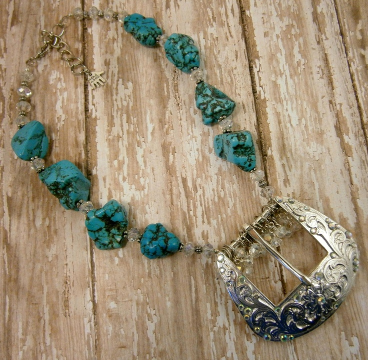 Western-Style Belt Buckle Necklace with Turquoise and Crystals. $48.00, via Etsy.