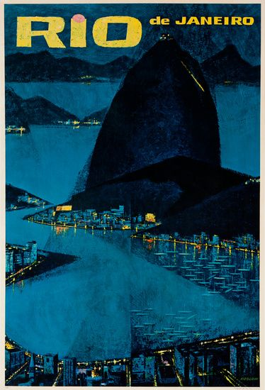 DP Vintage Posters - Rio de Janeiro Original Travel Poster Sugar Loaf at Dusk