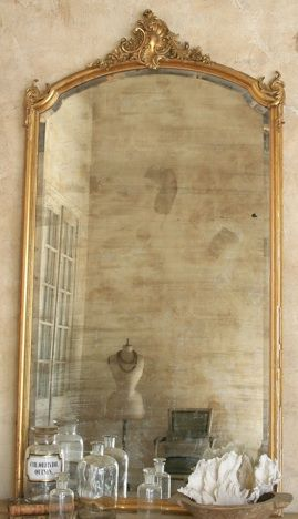 Vintage Gold Mirror (Attach a floor length mirror to a vintage door frame)