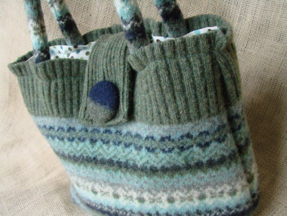 Purses made from old felted sweaters.. great idea!