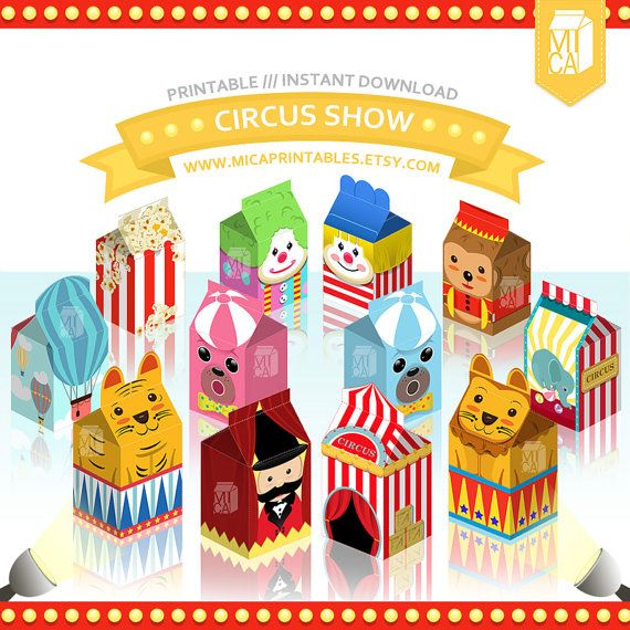 Circus Theme Printable Party Favor by MicaPrintables