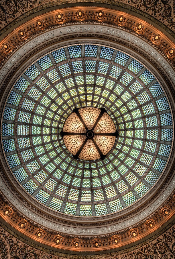 World's largest Tiffany stained-glass dome, Preston Bradley Hall at Chicago Cultural Center