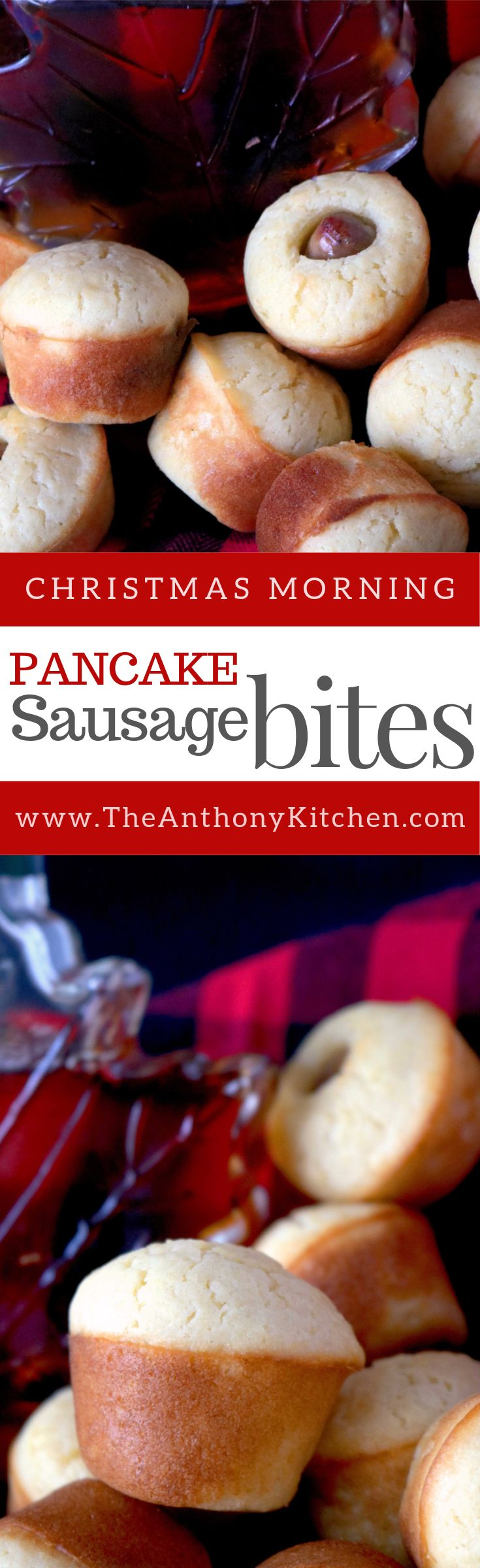 Pancake Sausage Bites | Kid-Friendly Christmas Breakfast Idea | A make-ahead, freezer-friendly breakfast recipe featuring homemade mini muffin pancakes with breakfast sausage links baked inside | #christmasbrunch #recipes #minimuffinpancakes #christmasmorningrecipe