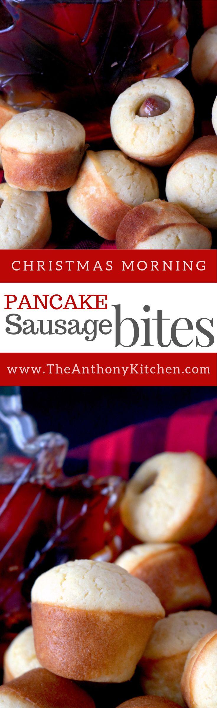 Pancake Sausage Bites | Kid-Friendly Christmas Breakfast Idea | A make-ahead, freezer-friendly breakfast recipe featuring homemade mini muffin pancakes with breakfast sausage links baked inside | #christmasbrunch #recipes #minimuffinpancakes #christmasmorningrecipe