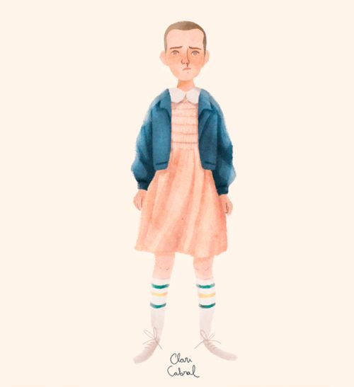 Who is watching Stranger Things??? Little Eleven in her pretty pink dress totally matching with those socks
