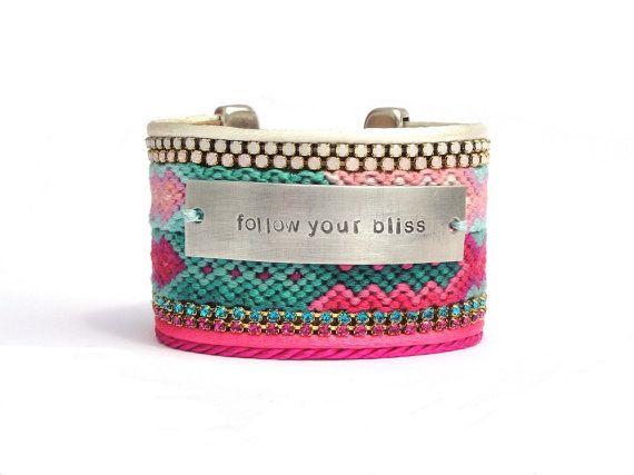 Hot pink ombre cuff bracelet - friendship bracelet cuff - gradient jewelry - boho chic hippie bracelet - bohemian jewelry - pink jewelry via Etsy