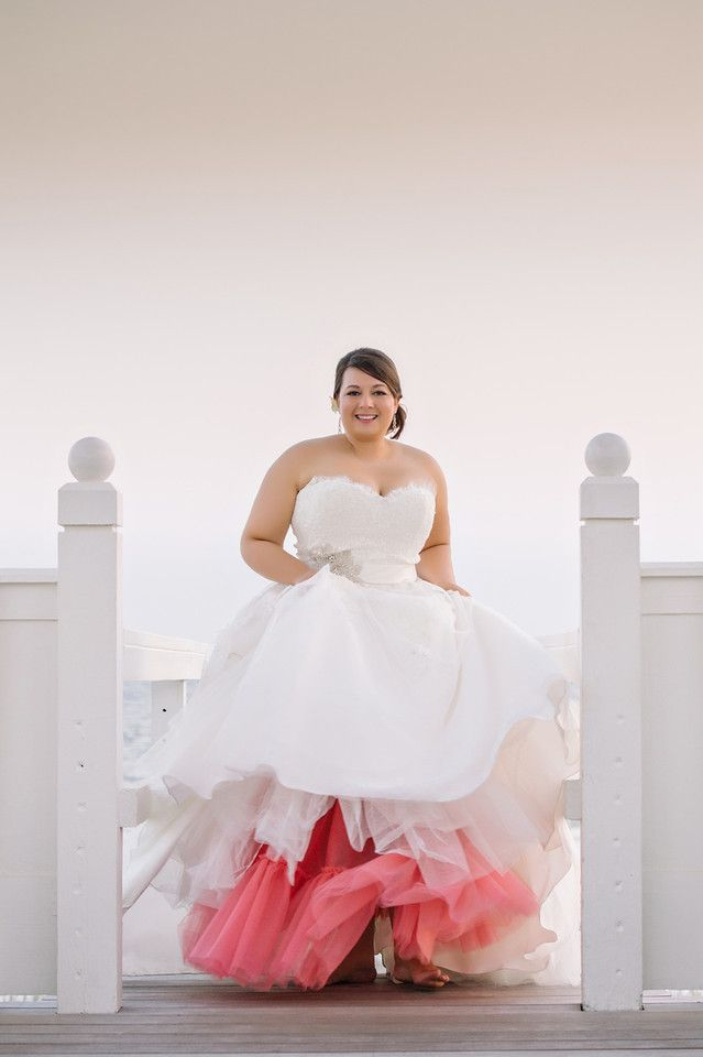 gorgeous white wedding dress with a pop of color <3 this!