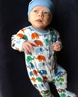 Gorgeous Oscar in his Magnificent Baby Elephants On Parade Footie