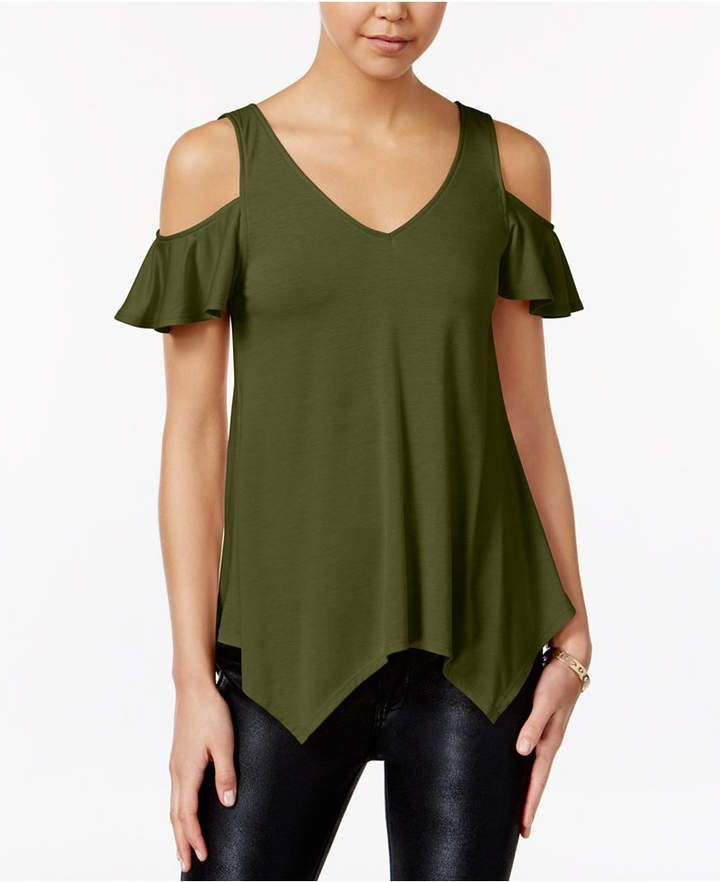 Almost Famous Juniors Ruffle-Sleeve Cold-Shoulder Top
