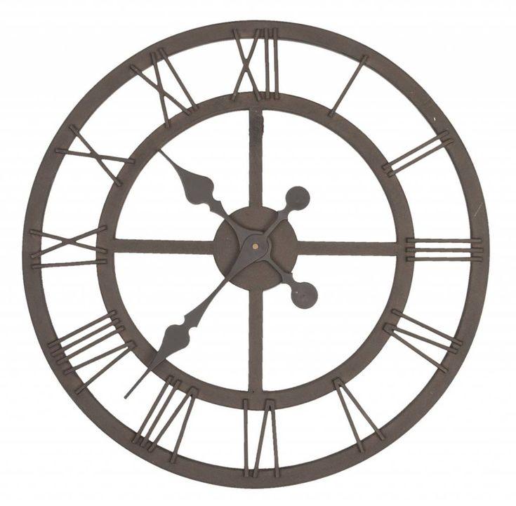 Franse landelijke ronde klokken in zilverkleur, blauw, grijs, wit, zwart met romeinse cijfers, industrieel. Verkrijgbaar bij de webshop voor klokken Berlano.nl. METALEN Ronde Wandklok van ijzerdraad en ROMEINSE CIJFERS. 50cm