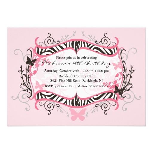 Rosa Zebra 16. Geburtstag Geburtstags Einladung 12,7 X 17,8 Cm  Einladungskarte
