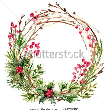 Christmas wreath. Ornaments from the branches painted with watercolors on white background. Branches of trees. Holly sprigs with red berries.