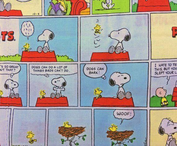 Peanuts Comic Strip Cotton Fabric Sunday Comics 100 Percent Etsy Peanuts Comic Strip Comics Comic Strips