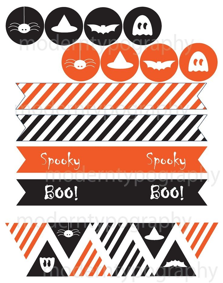 free diy printable halloween images for party flags garland cupcakes and