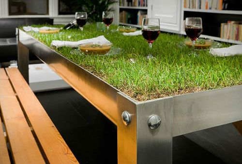 PicNYC table... This is unbelievably cool.Ideas, Green, Outdoor Tables, Picnics Tables, Haiko Cornelissen, Dining Tables, Design, Picnyc Tables, Grass Tables