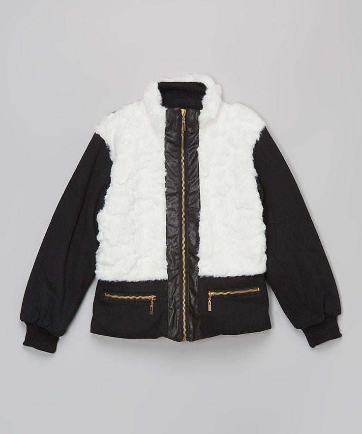 White Faux Fur Jacket - Girls
