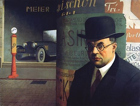 Georg Scholz (Allemagne, 1890-1945) – Self in Front of an Advertising Column (1926)  Staatliche Kunsthalle, Karlsruhe