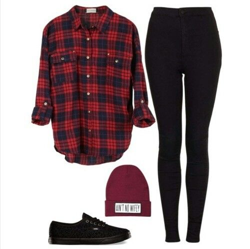 Outfit # - Dark Red Flannel - Black Jeans - Black and Red Vans - Dark Gray Beanie
