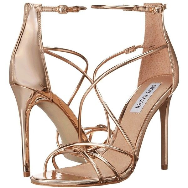 Steve Madden Satire (Rose Gold) Women's Shoes ($90) ❤ liked on Polyvore featuring shoes, sandals, steve madden footwear, steve madden, steve madden sandals, leather upper shoes and open toe platform sandals