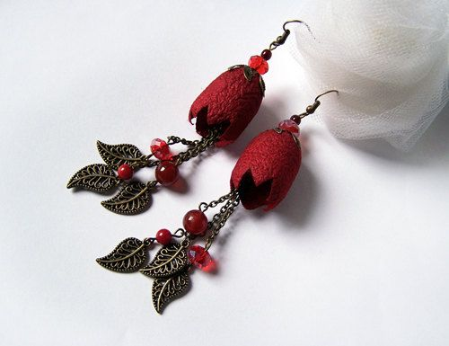 Silk Cocoon Earrings hand dyed red by mamzellefifi on Etsy