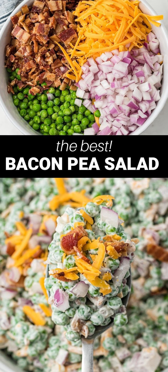 Pea Salad Recipes, Pea Recipes, Bacon Recipes, Healthy Salad Recipes, Side Dish Recipes, Cooking Recipes, Cooking Time, Pea Salad With Bacon, Bacon Salad