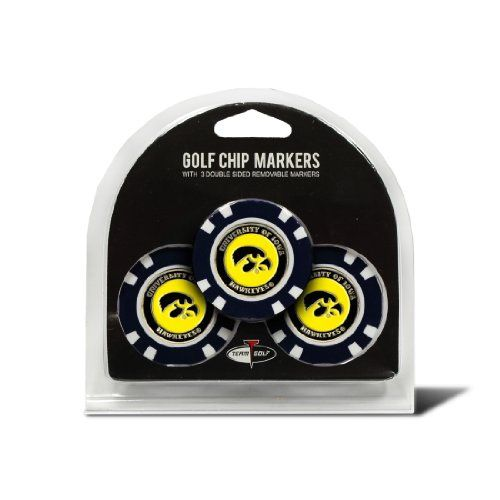 NCAA Iowa Hawkeyes 3 Pack Golf Chip Ball Markers  3 team colored golf chips  Comes with removable double-sided enamel color fill magnetic marker  Strong magnet to hold marker