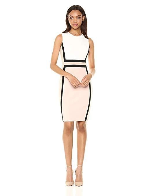 53600bf4e07 Calvin Klein Women s Sleeveless Color Block Sheath Dress at Amazon Women s   dresses fashionClothing store