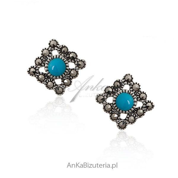 biżuteria - kolczyki z turkusem http://ankabizuteria.pl/kolczyki/4385-kolczyki-srebrne-z-markazytami-i-niebieskim-turkusem.html