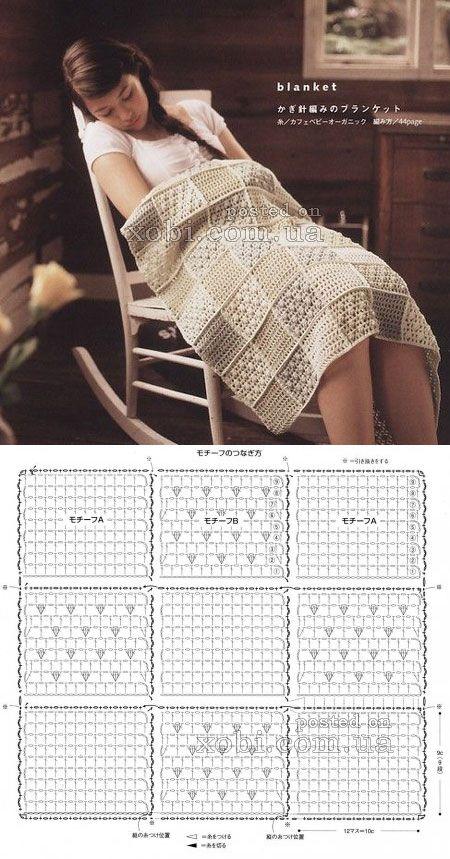 плед из квадратов с разным рисунком