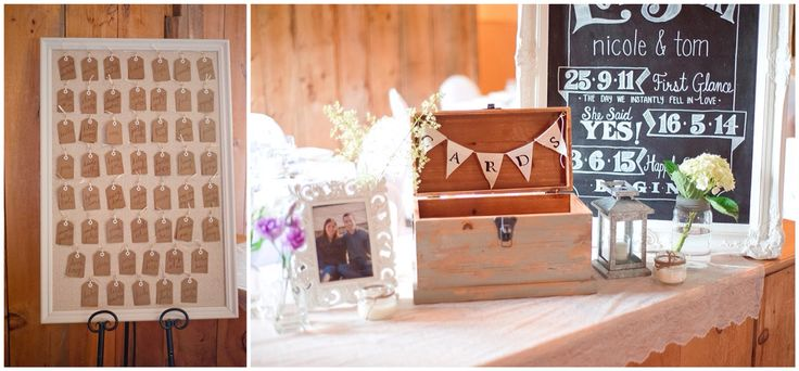 Rustic wedding decor. Seating chart and card box