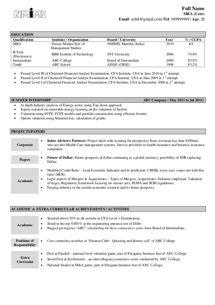 Resume Format Model – Objectives for Resume for Freshers