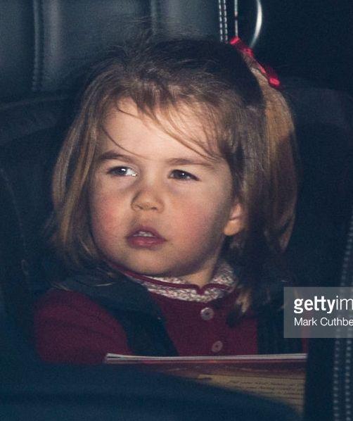 Princesse Charlotte de Cambridge, 20 décembre 2017, Déjeuner de Noël donné par la reine Elizabeth, Buckingham Palace