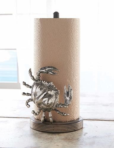 Crab Paper Towel Holder Available in store now and on-line www.coastalgiftsanddecor.com