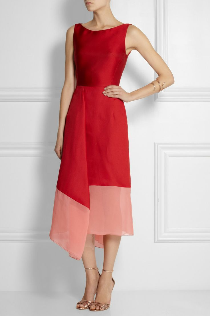 Antonio Berardi | Draped satin and crepe dress calf length red and pink color block