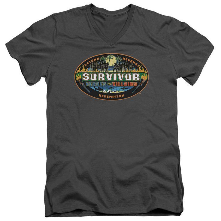 Survivor Heroes vs. Villains Charcoal V-Neck T-Shirt