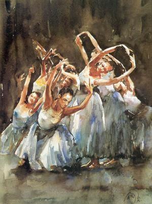 Balerinas performing - Eserleri - Turkish Paintings