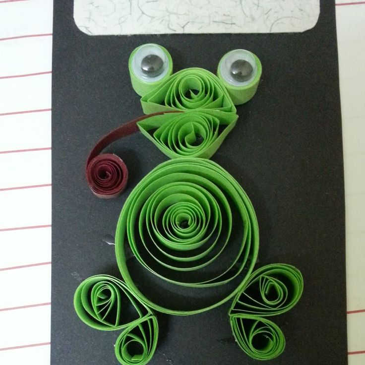"""""""I can be your Prince Charming.... Kiss me. Kiss me""""  Froggy Prince Quilled Card"""