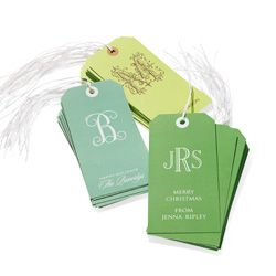 monogrammed gift tags. Great hostess gifts